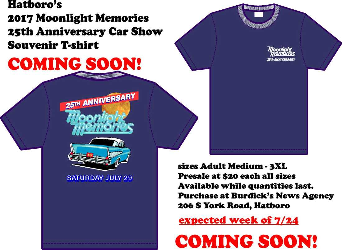 Moonlight Memories 25th Anniversary Shirts at Burdicks News Agency
